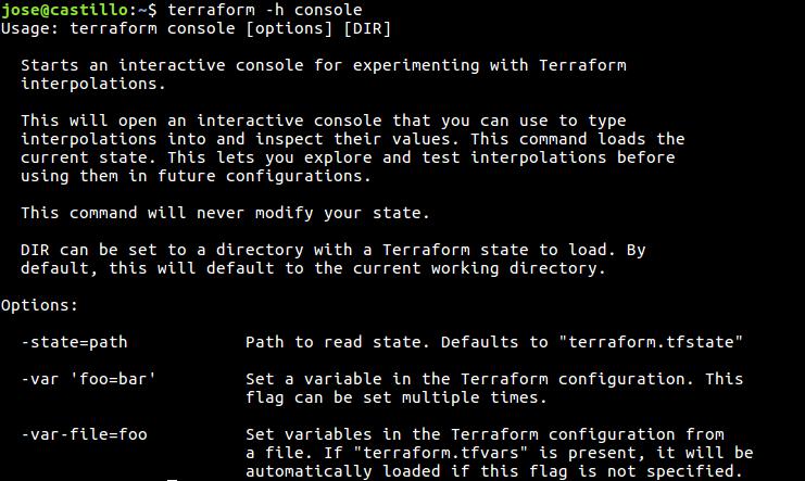 Comandos de Terraform — documentación de Terraform